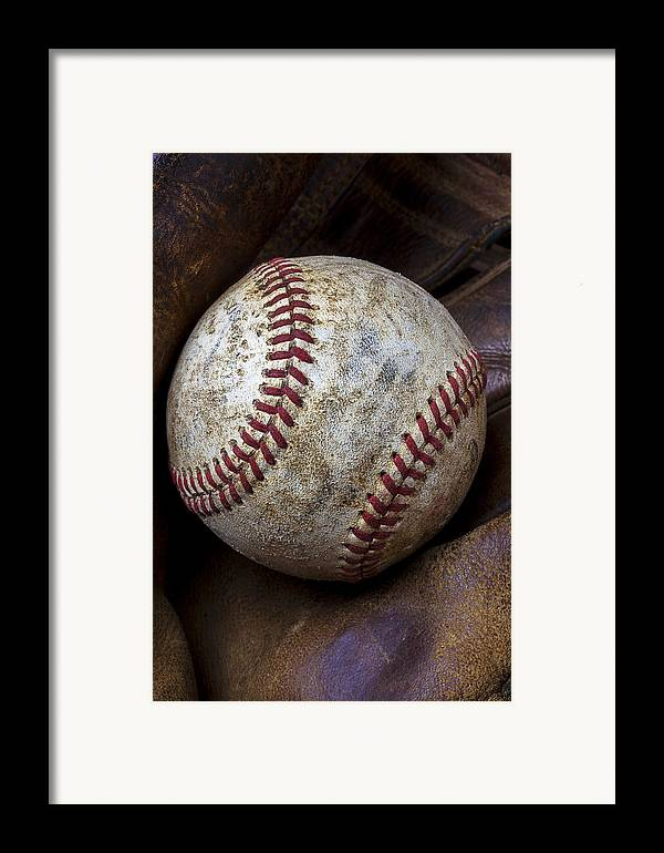 Old Mitt Framed Print featuring the photograph Baseball Close Up by Garry Gay