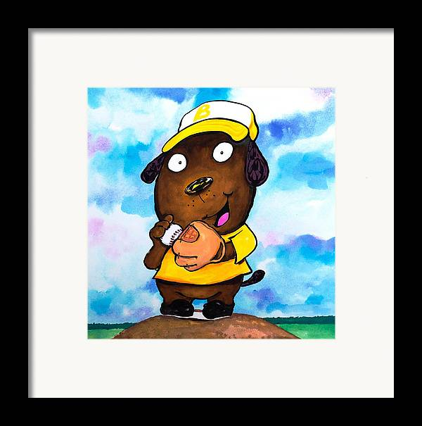 Dog Framed Print featuring the painting Baseball Dog 2 by Scott Nelson
