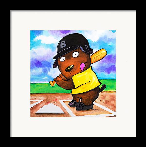 Dog Framed Print featuring the painting Baseball Dog by Scott Nelson