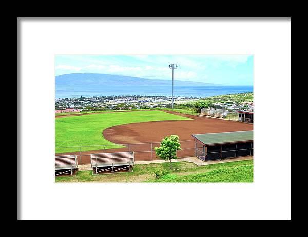 Baseball Field Framed Print featuring the photograph Baseball Field at Lahainaluna High School by Kirsten Giving