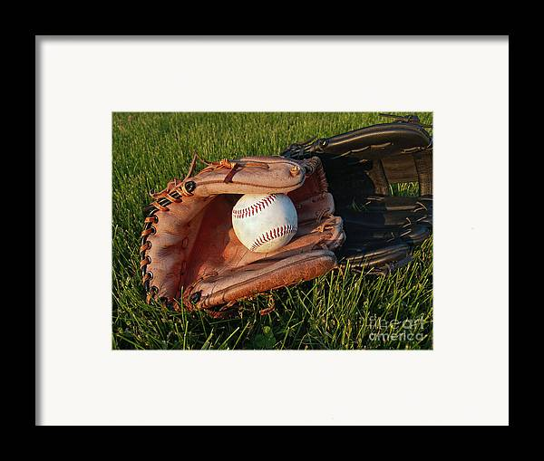 Baseball Framed Print featuring the photograph Baseball Gloves After The Game by Anna Lisa Yoder