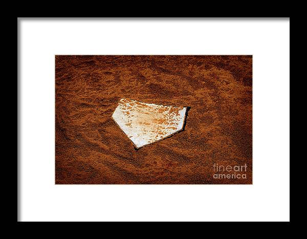 Activity Framed Print featuring the photograph Baseball Homeplate In Brown Dirt For Sports American Past Time by Lane Erickson