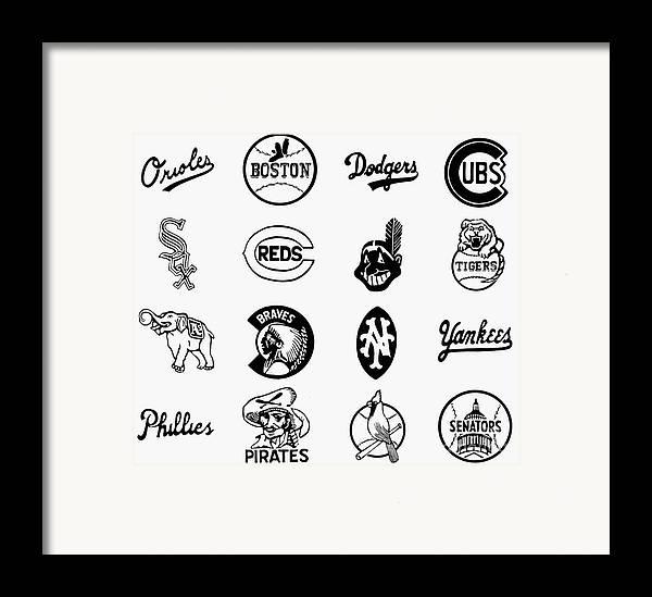 1955 Framed Print featuring the photograph Baseball Logos by Granger
