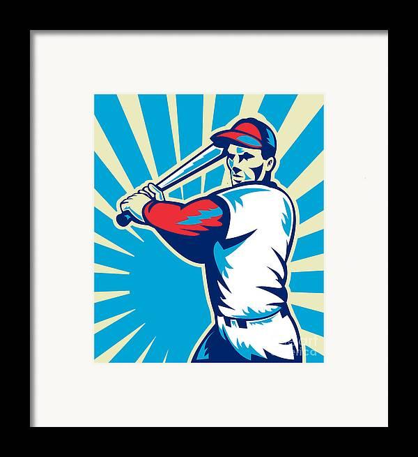 Baseball Framed Print featuring the digital art Baseball Player Batting Retro by Aloysius Patrimonio