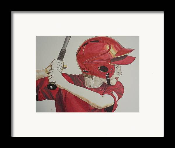 Baseball Framed Print featuring the drawing Baseball Ready 2 by Michael Runner