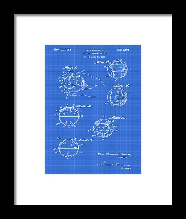 Baseball Framed Print featuring the photograph Baseball Training Device Patent 1961 Blueprint by Bill Cannon