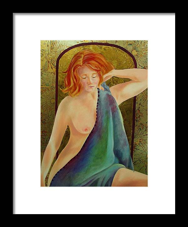 Nude Framed Print featuring the painting Bashful by Marlene Gremillion