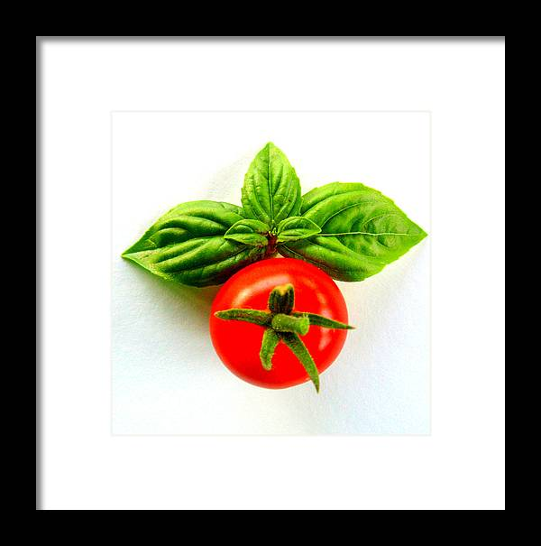 Basil Framed Print featuring the photograph Basil And Cherry Tomato by Sarah Black