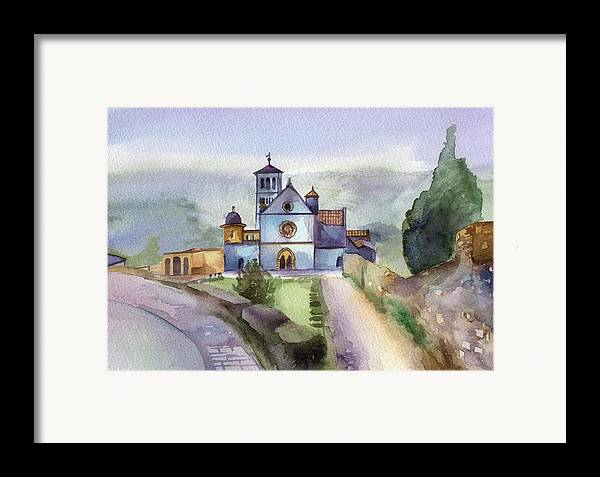 Watercolour Framed Print featuring the painting Basilica Of St Francis Assisi by Lydia Irving