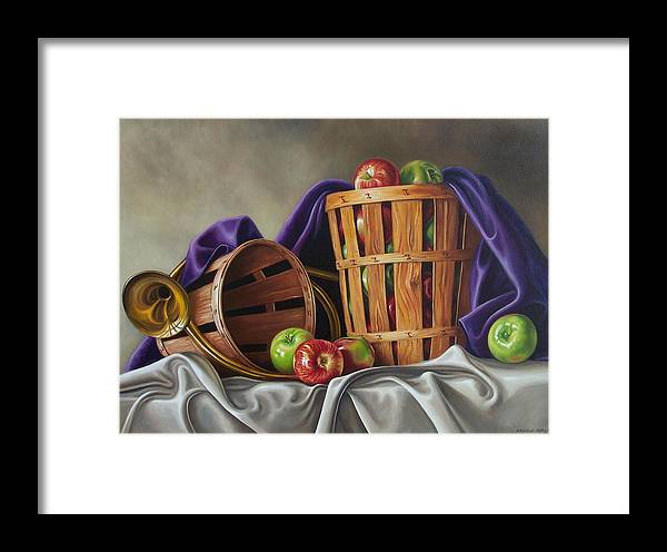 Still Life Framed Print featuring the painting Basket And Horn by Arnold Hurley