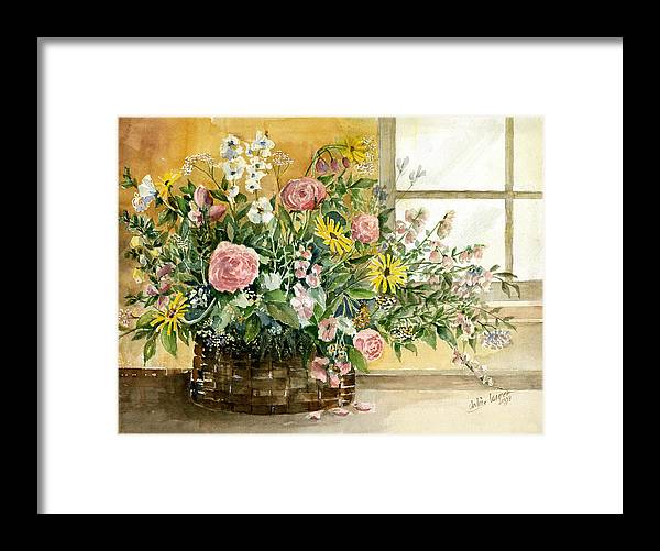 Basket Framed Print featuring the painting Basket Bouquet by Arline Wagner
