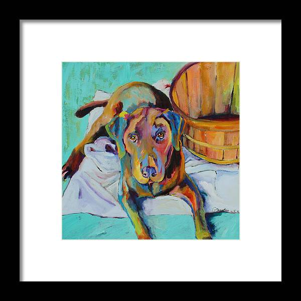 Chocolate Lab Framed Print featuring the painting Basket Retriever by Pat Saunders-White