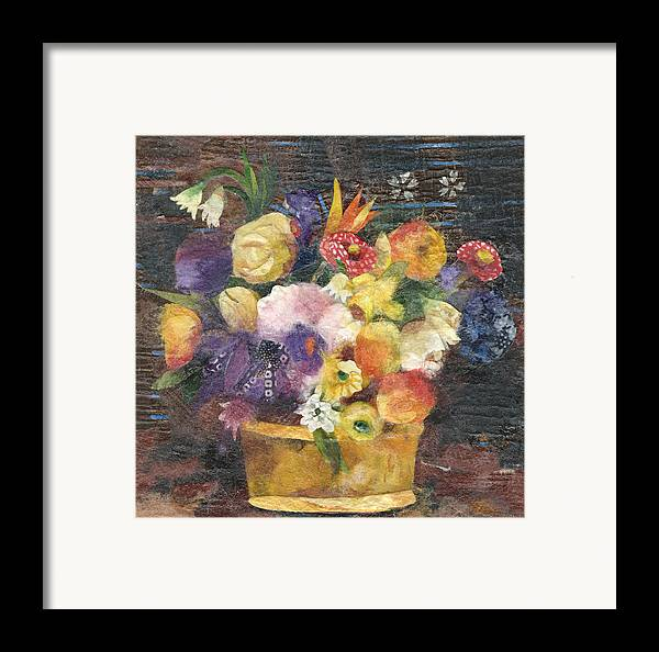 Limited Edition Prints Framed Print featuring the painting Basket With Flowers by Nira Schwartz