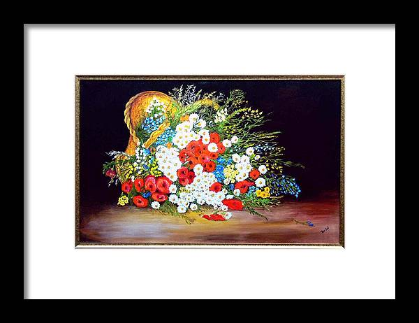Summer Framed Print featuring the painting Basket with summer flowers by Helmut Rottler