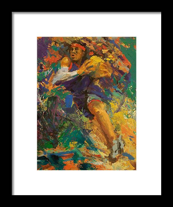 Basketball Framed Print featuring the painting Basketball Ai by Tom Forgione