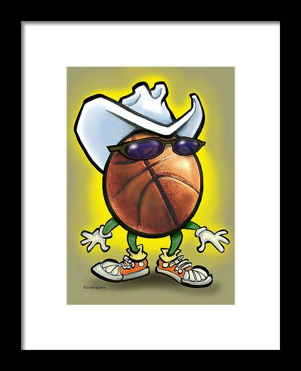 Basketball Framed Print featuring the digital art Basketball Cowboy by Kevin Middleton