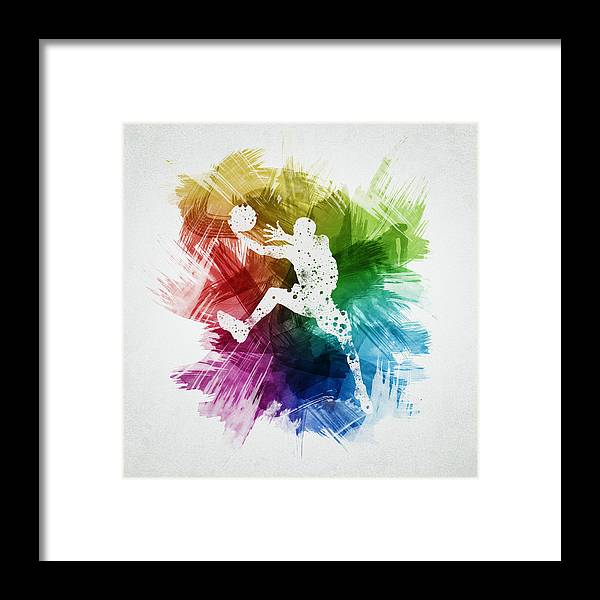 Basketball Framed Print featuring the digital art Basketball Player Art 04 by Aged Pixel