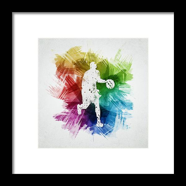 Basketball Framed Print featuring the digital art Basketball Player Art 16 by Aged Pixel