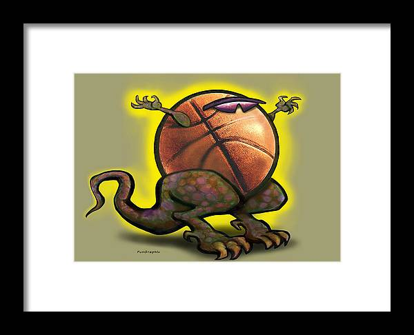 Basketball Framed Print featuring the digital art Basketball Saurus Rex by Kevin Middleton