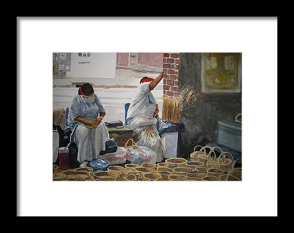 Market Street Framed Print featuring the painting Basketweavers by Shirley Braithwaite Hunt