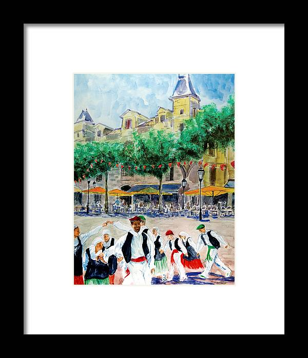 Basque Framed Print featuring the painting Basque Country Dancing by Aymeric NOA