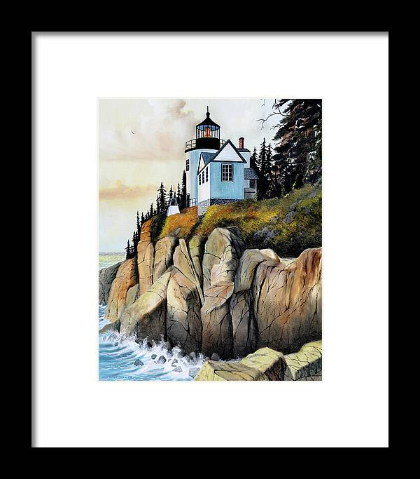 Lighthouse Framed Print featuring the painting Bass Light by Don Griffiths