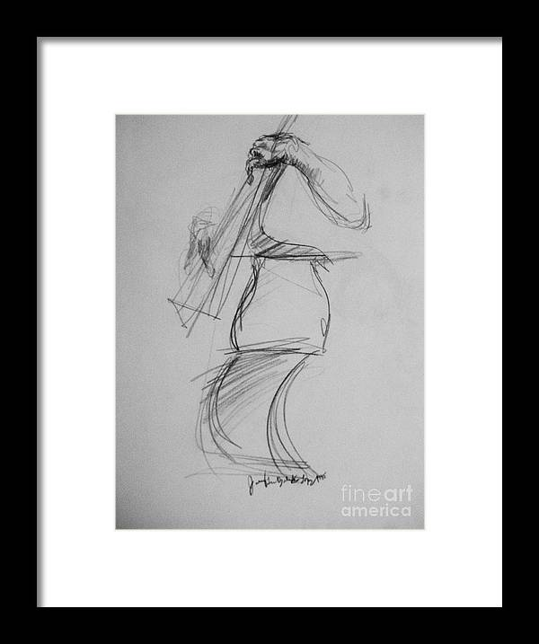 Bass Framed Print featuring the drawing Bass Man by Jamey Balester