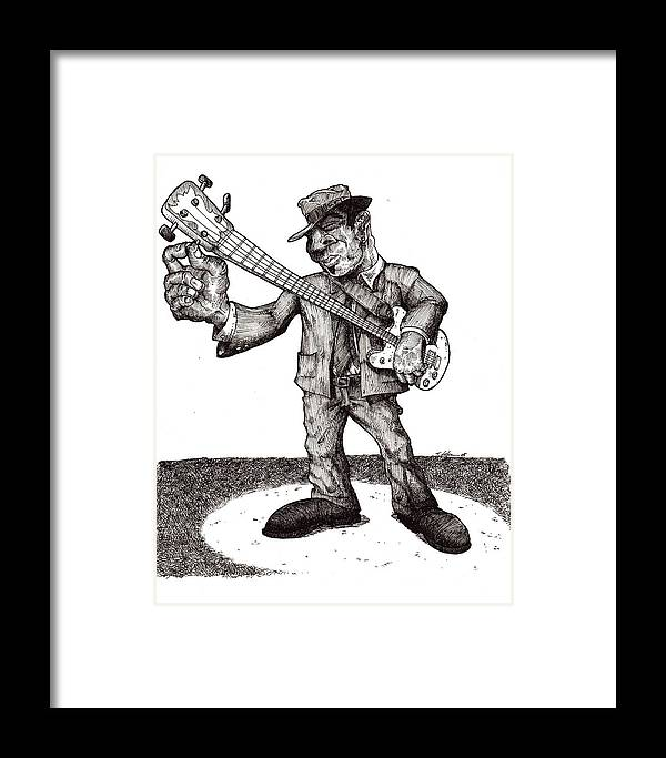 Blues Framed Print featuring the drawing Bass by Tobey Anderson