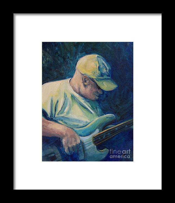 Bassman Framed Print featuring the painting Bassman Blues by Linda Vespasian