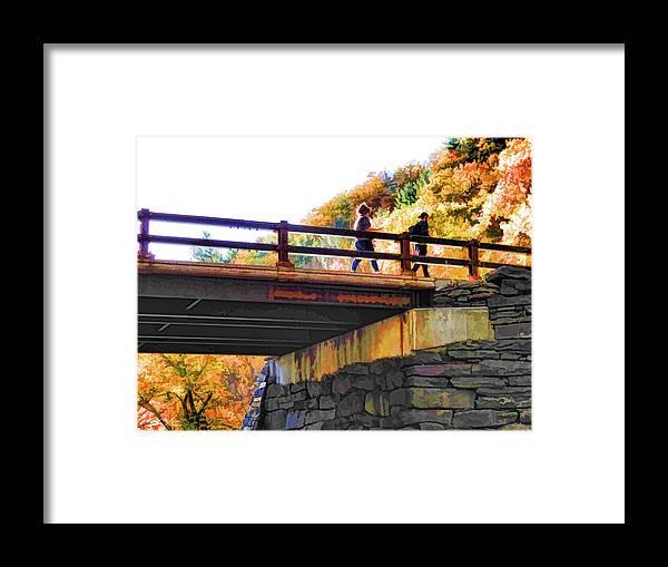 Bastion Falls Bridge Framed Print featuring the painting Bastion Falls Bridge 1 by Jeelan Clark
