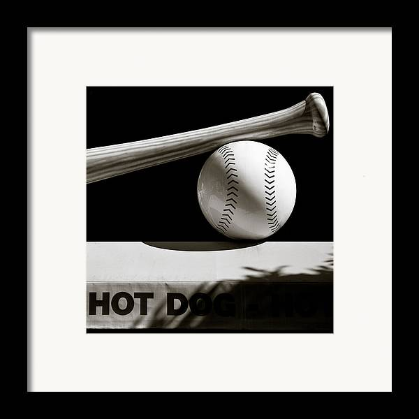 Baseball Framed Print featuring the photograph Bat And Ball by Dave Bowman