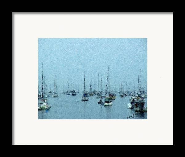 Sail Boats Marblehead Mass Harbor Sailing Anchored Bay Sea Framed Print featuring the painting Bateaux Au Repos by Eddie Durrett