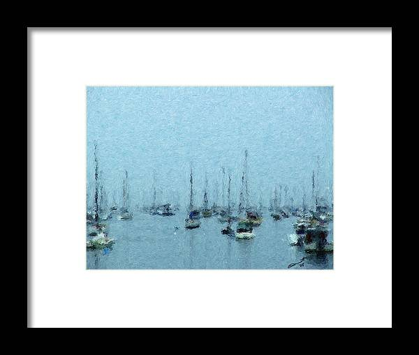 Sail Boats Marblehead Mass Harbor Sailing Anchored Bay Sea Framed Print featuring the painting Bateaux Au Repos by Eddie Durrett