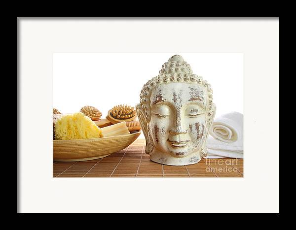 Accessory Framed Print featuring the photograph Bath Accessories With Buddha Statue by Sandra Cunningham