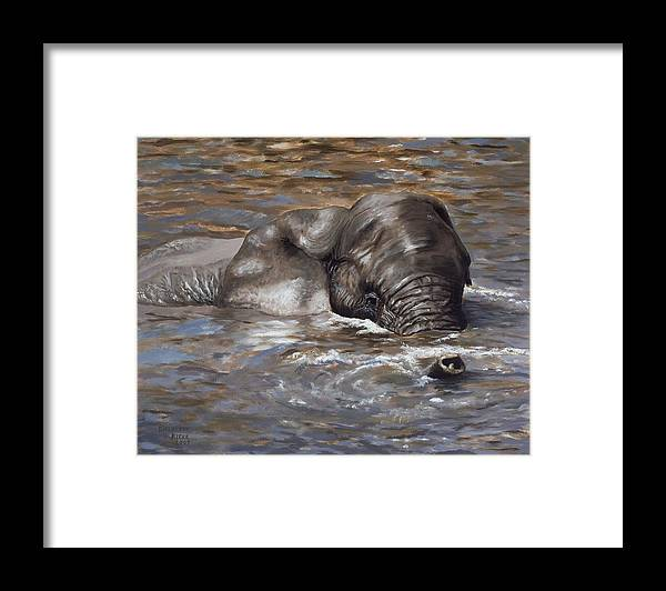 African Framed Print featuring the painting Bath time - African Elephant in the Water by Elizabeth Rieke Hefley
