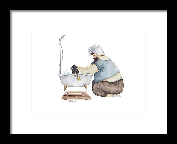 Illustration Framed Print featuring the drawing Bath Time by Soosh