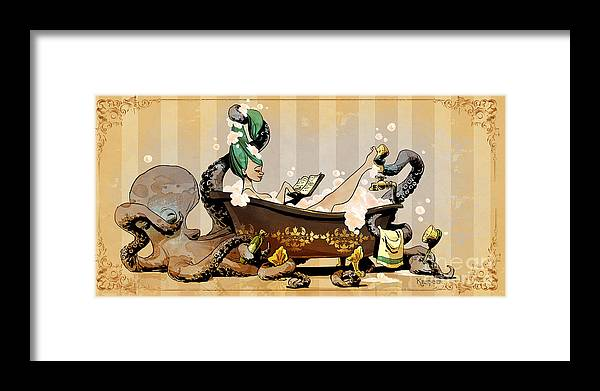 Steampunk Framed Print featuring the digital art Bath Time With Otto by Brian Kesinger