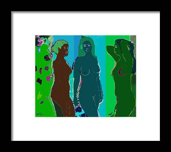 Nude Framed Print featuring the painting Bather 15 by noredin Morgan