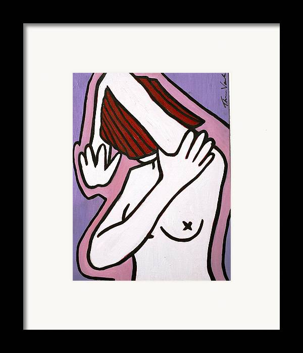 Nude Framed Print featuring the painting Bather by Thomas Valentine