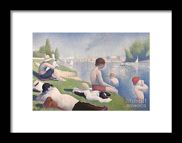 Pointillist; Swimming; Neo Impressionist; Bank; Seine; River; Dog; Puppy;l Ying; Baignade; Crt; Dgt; Golden Section Framed Print featuring the painting Bathers At Asnieres by Georges Pierre Seurat
