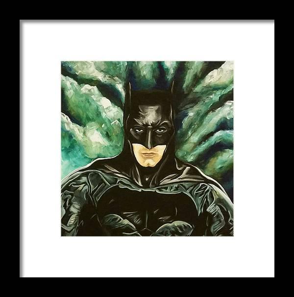 Batman Framed Print featuring the painting Batman by Rebecca Blaser