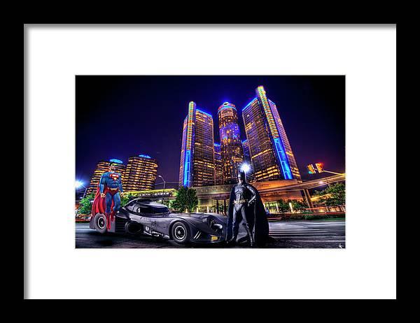 Dj Just Nick Framed Print featuring the digital art Batman vs Superman by Nicholas Grunas