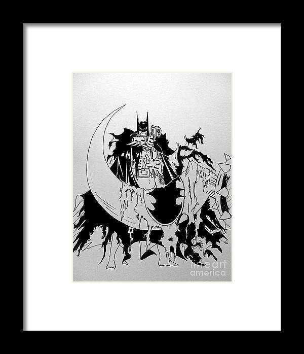 Batman Year 2 Inked Framed Print by Justin Moore