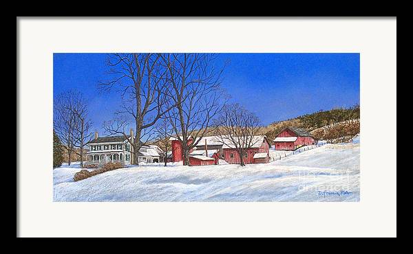 Landscape Framed Print featuring the painting Batteases Farm In Winter by David Francis