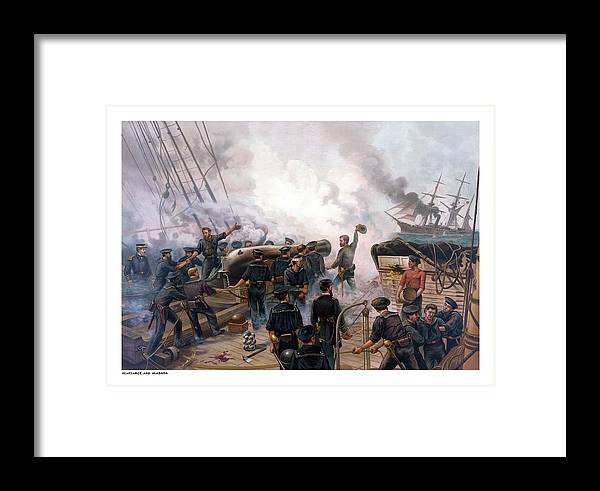 Civil War Framed Print featuring the painting Battle Between Kearsarge And Alabama by War Is Hell Store