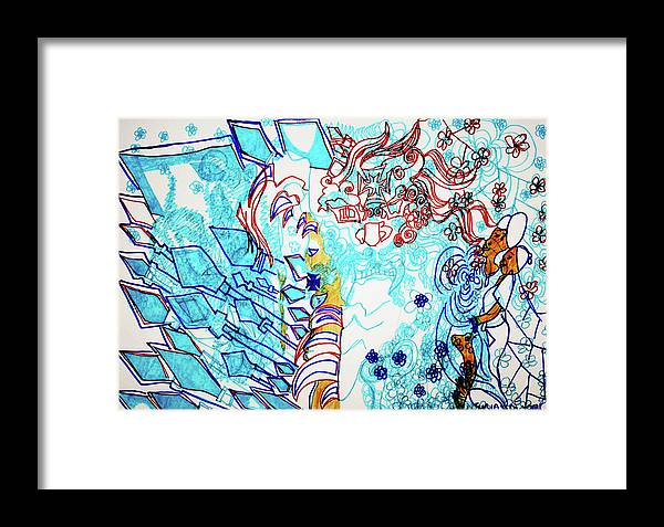 Jesus Framed Print featuring the painting Battle For Heaven Ggulu Summons Kaikuzzi To Defeat Walumbe by Gloria Ssali