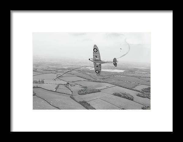 Spitfire Framed Print featuring the photograph Battle Of Britain Spitfire Black And White Version by Gary Eason