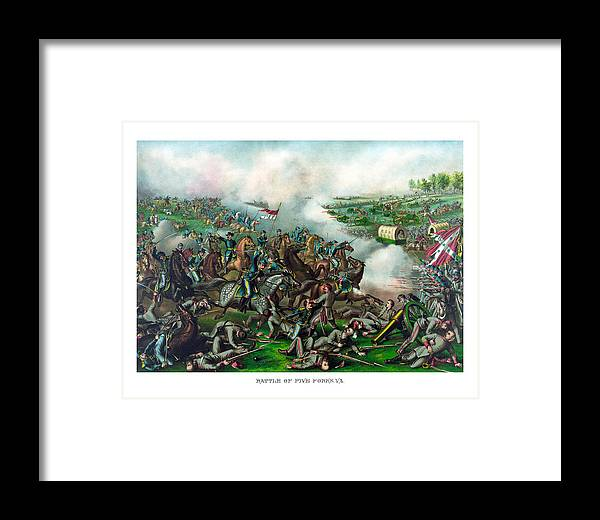 Civil War Framed Print featuring the painting Battle Of Five Forks by War Is Hell Store