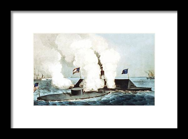 Monitor Framed Print featuring the painting Battle Of The Monitor And Merrimack by War Is Hell Store