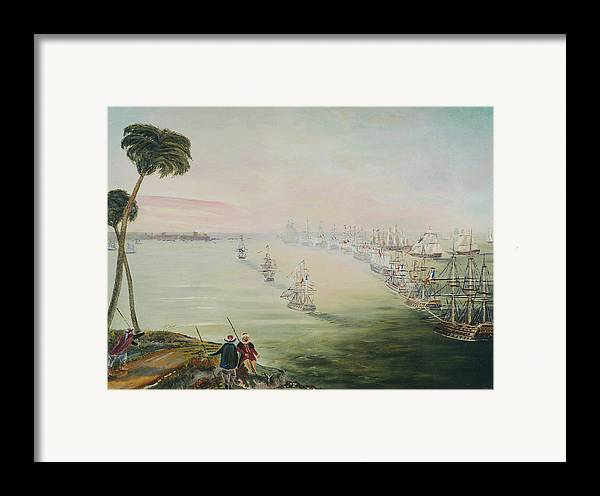 Sea Battle Framed Print featuring the painting Battle Of The Nile by Richard Barham